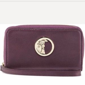 Versace Pearl Leather Zip Around Wallet